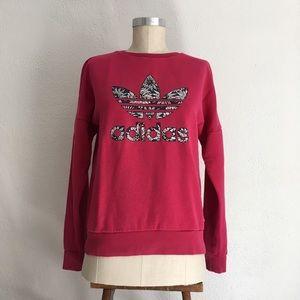 Adidas Girls Floral Trefoil Pink Sweatshirt Top L